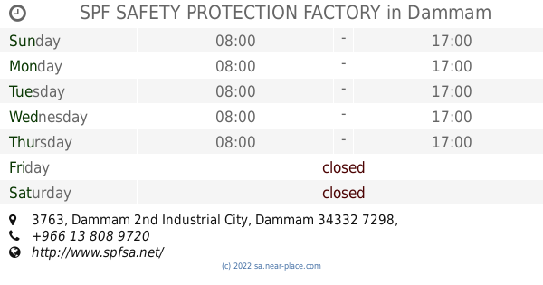 🕗 SPF SAFETY PROTECTION FACTORY Dammam opening times, tel